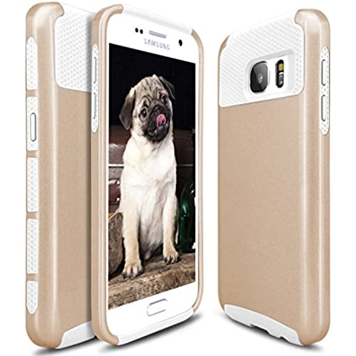 S7 Case, Galaxy S7 Case, Hinpia Hybrid Slim Dual Layer Protective Case Anti Scratches Shockproof Hard Cover for Samsung Galaxy S7 (2016 Release) - Gold/White Sales