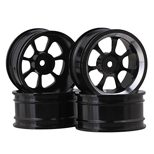 - BQLZR Black Aluminum Alloy RC 1:10 On-Road Racing Car Wheel Rims with 7-Spoke Pack of 4