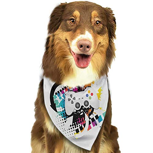 Pet Dog Scarf Gamer Modern Console Game Comtroller with Halftone Motif and Color Splashes Background W27.5 xL12 Scarf for Small and Medium Dogs and Cats