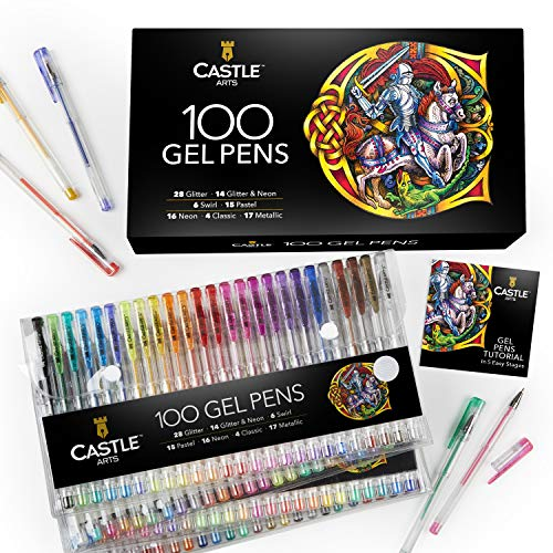 Castle Art Supplies 100 Gel Pens Set with Case for Adults Kids Artists | Ideal for Coloring Books Drawing Scrapbooking Writing | Includes Swirl Pastel Metallic Glitter and Neon Smooth Fine Tip Gels