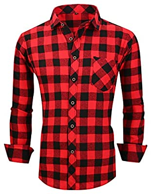 XTAPAN Men's Plaid Casual Shirts-Regular Fit Long Sleeve Checked Button Down Dress Shirts