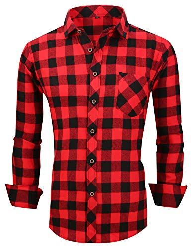 XTAPAN Men's Plaid Casual Regular Fit Long Sleeve Lattice Button Down Dress Shirt US M=Tag 41 Red Black M625