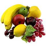 Gresorth Artificial Lifelike Apple Brin Banana Grape Lemon Peach Decoration Fake Fruit Home Christmas Party - 7 Fruits