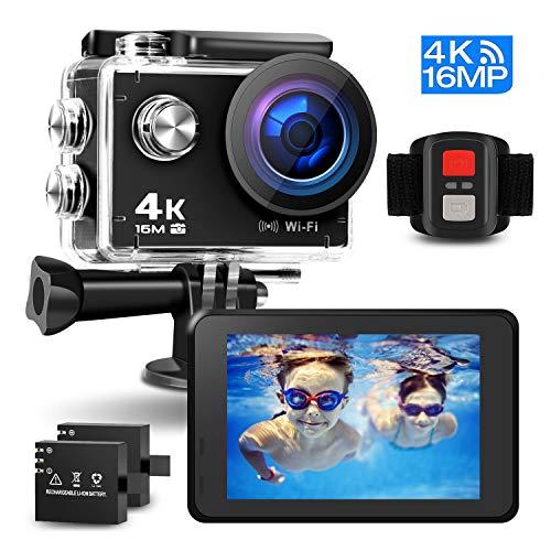 Prymax 4K Action Camera 16MP WiFi Ultra HD AntiShake 30M Underwater Waterproof Camera Sports
