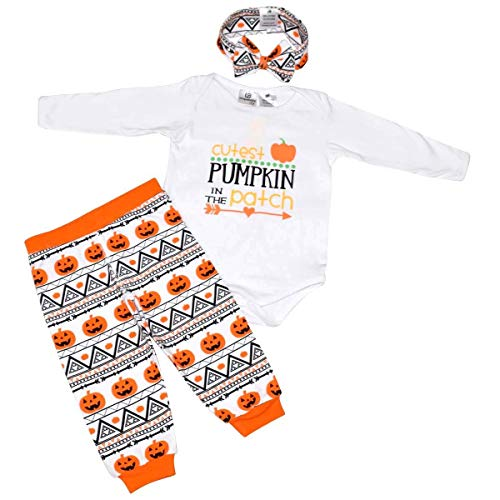 Baby Halloween Clothes Newborn Long Sleeve Romper+Hat+Pumpkin Pant Outfit Set (Baby, 0-6 M)