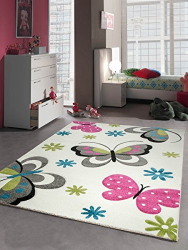 Tappeti bambini tappeto regazza farfalla rosa bianca Größe 80x150 cm Carpetia