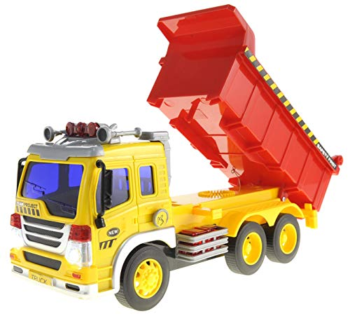 Friction Powered Dump Truck  Push and Go Construction Toy for Boys and Girls with Lights and Sounds, Lift Up The Bucket - Realistic 1:16 Scale Design, Great Car Toys Gift Giveaways for Your Kids