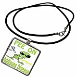 3dRose Blonde Designs Cause Awareness Designs Pee On Alien - Super Funny Peeing Alien Supporting Causes For Addisons Disease - Necklace With Rectangle Pendant (ncl_120624_1)