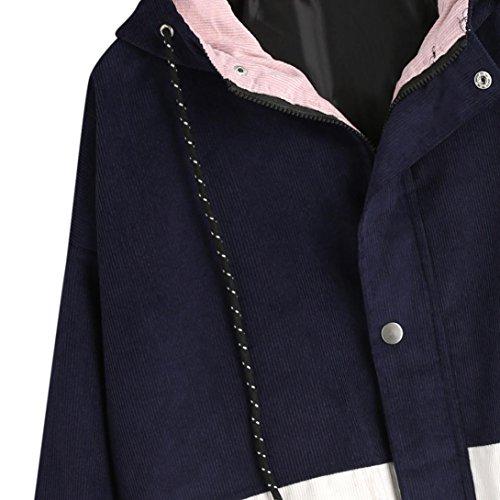 Overcoat Jacket Coat Patchwork Zipper Long Corduroy Women Jumper Sleeve Hooded Sweatshirt Navy Mingfa qRWT6wZ