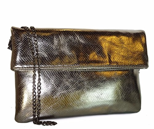 Studio Pewter Clutch Over MMS Python Design Large Crossbody Fold Metallic BqwzHx5O
