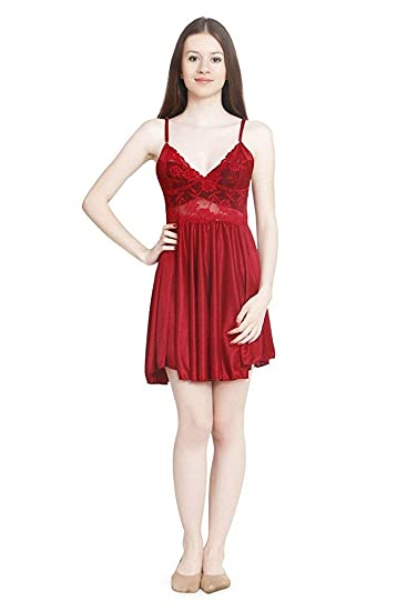 Nityakshi® Women s Girl s Plain Solid Night Wear (Nighty Gown ... 1b20f7e24