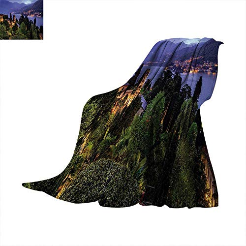 (Anhuthree Italian Super Soft Lightweight Blanket Lago Di Camo Lake Famous Coastal Village with Aerial View Picturesque Panorama Summer Quilt Comforter 60