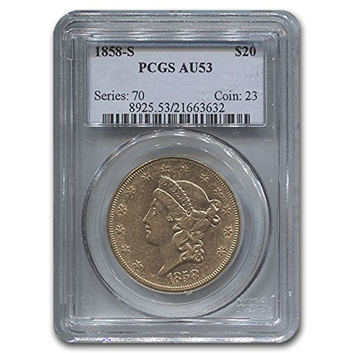 1858 S $20 Liberty Gold Double Eagle AU-53 PCGS G$20 AU-53 PCGS