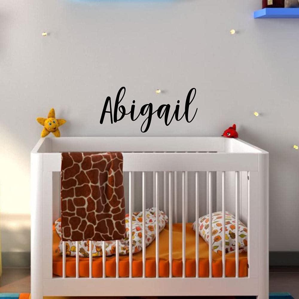 Fashion Vinyl Wall Art Decal Girls Name - Abigail - 12 x 30 - Girls Bedroom Vinyl Wall Decals - Cute Wall Art Decals for Baby Girl Nursery Room Decor (12 x 28 Black Cursive)