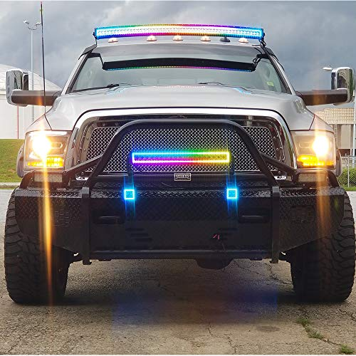 """300w 52/"""" white housing Curved led flowing lights with RGB halo for Truck Car ATV"""