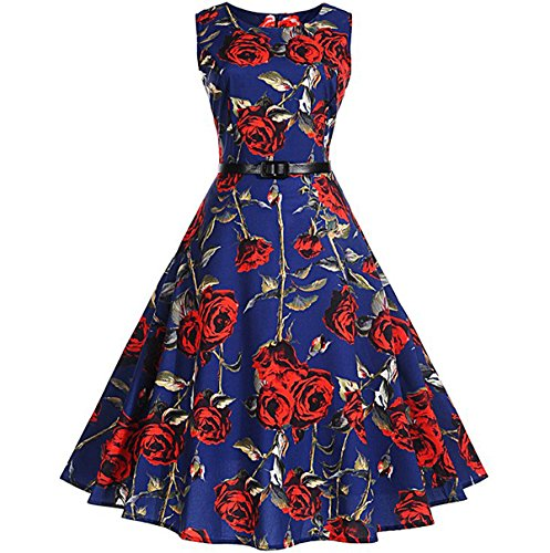 Chu Warm Women's Audrey Hepburn 1950s Vintage Floral Print Cocktail Swing Dress (S, 1200 Dark Blue - Rose) - Dark Blue Rose