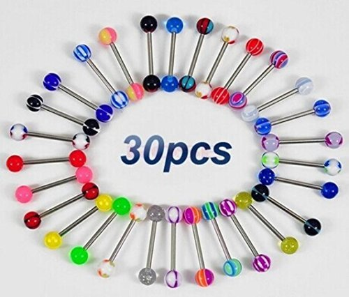 GreatFun 30PCS Fashion Colorful Stainless Steel Ball Barbell Tongue Rings Bars Piercing Ring