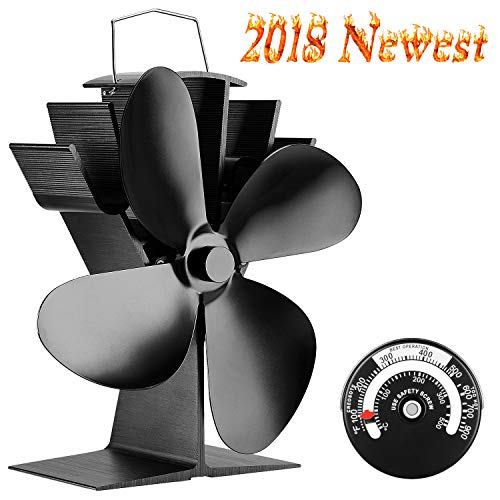 Sonyabecca Heat Powered Stove Fan with Magnetic Thermometer 4 Blade Wood Stove Fans Aluminium Silent Eco-Friendly for Wood Log Burner Fireplace