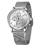 Baogela Mens White Dial Chronograph Military Silver Tone Stainless Steel Quartz Wrist Watches
