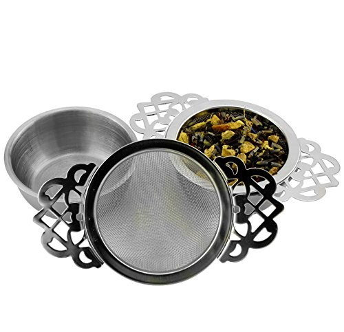 (Empress Tea Strainers with Drip Bowls (2-Pack); Elegant Stainless Steel Loose Leaf Tea Strainers)