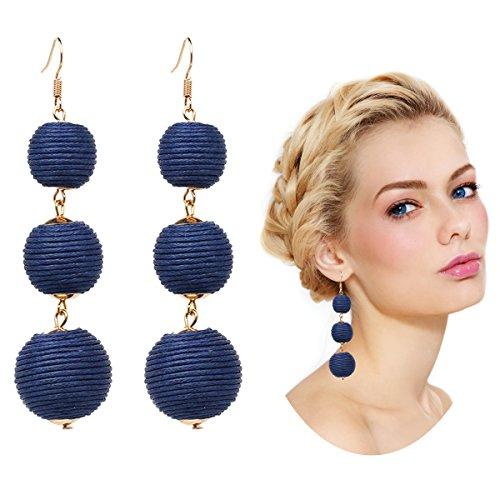 arrings Thread Dangle Earrings Soriee Drop Earrings Beaded Ball Ear Drop (Navy Blue) ()