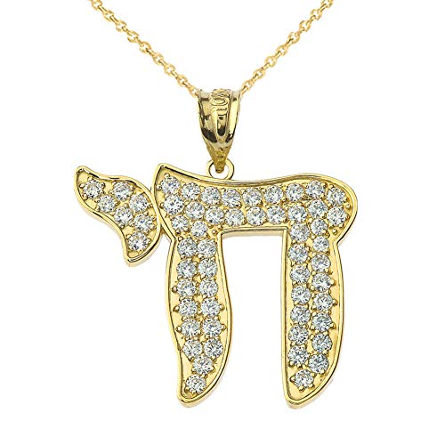 Diamond Pendant Chai (Dazzling 14k Yellow Gold Diamond
