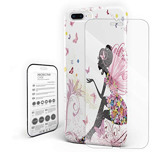 Slim Fit Hard Shell Case for iPhone 7p/8p Full Protective Shockproof African Women with Wing Angel and Butterflies Cover Case for Apple 7p/8p -
