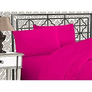 Elegant Comfort 1500 Thread Count Wrinkle & Fade Resistant Egyptian Quality Ultra Soft Luxurious 4-Piece Bed Sheet Set with Deep Pockets, California King Pink