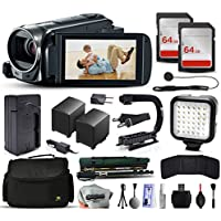 Canon VIXIA HF R50 HFR50 HD Camcorder Video Camera + 128GB Memory + Charger with Car/Euro Adapter + Action Stabilizer + LED Night Light + Cap Keeper + Large Case + Monopod + Dust Cleaning Kit + More