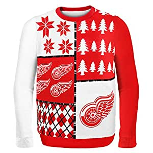 Forever Collectibles NHL Detroit Red Wings Busy Block Ugly Sweater, XX-Large, Red