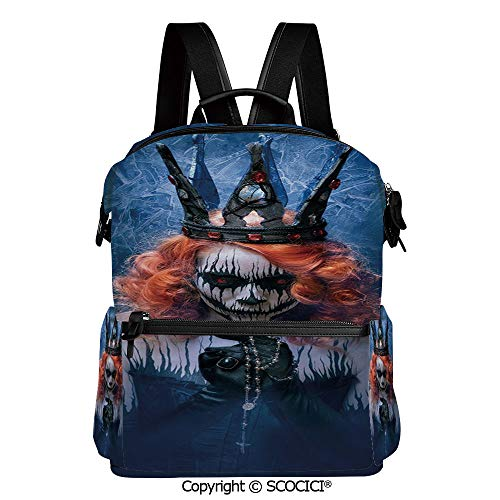 SCOCICI Stylish Bookbags Child Back to School Gift,Queen of Death Scary Body Art Halloween Evil Face Bizarre Make Up Zombie,L11.4xW6.3xH15 Inches]()