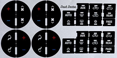 Dash Doctor. 2007-2015 GM Air Conditioning/Heating Control Button Restoration Decal Set! Fits Chevy GMC Cadillac Buick, Silverado Tahoe Suburban Avalanche Traverse Sierra Yukon Escalade Enclave ()