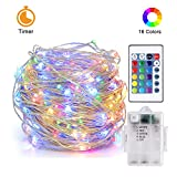 Attuosun LED String Lights Waterproof 16.4ft/5m 50leds Battery Powered,16 Colors Changing Fairy Lights with Timer Function,Wireless Remote Control Decorative Copper Wire Lights for Indoor and Outdoor