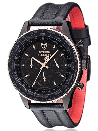 DETOMASO Firenze Men's Wrist Watch Chronograph Black Rosegold Leather Strap