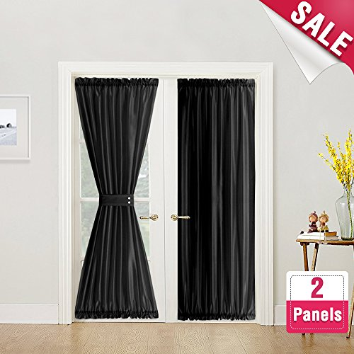 French Door Curtain Panels 72 inches Long Curtains for French Doors Faux Silk Dupioni French Door Panels Privacy, Black, 2 Panels, Tiebacks Included (Long Curtain Panels 72)