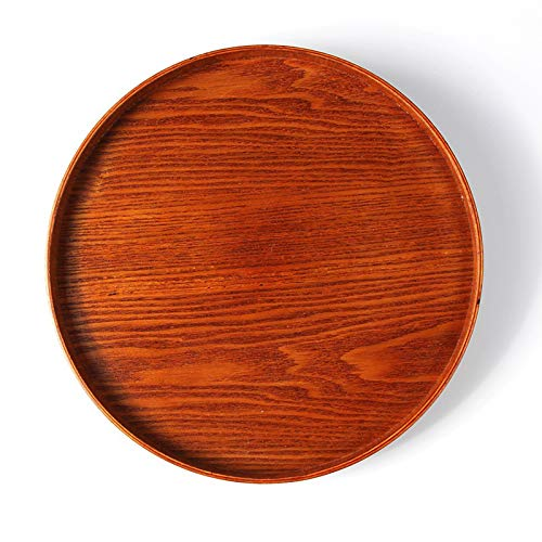 VT BigHome Large Round Wood Serving Tray Wood Coffee Tea Tray Wooden Snack Fruit Plate Bar Cafe Food Platter Server Dishes Wooden Utensils -