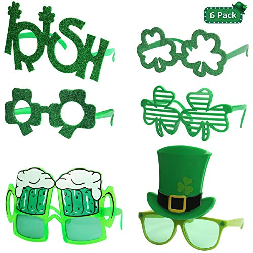 St. Patrick's Day Glasses - 6 Pack, Irish Shamrock Leaves Costume Sunglasses, Green Clover Evewear for Kids and Adults