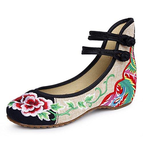 Dentro del aumento de los zapatos de estilo nacional/Pendiente con cabeza redonda zapatos bordados B