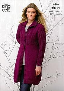 King Cole Ladies Coat & Hooded Cardigan Fashion Aran Knitting Pattern 349...