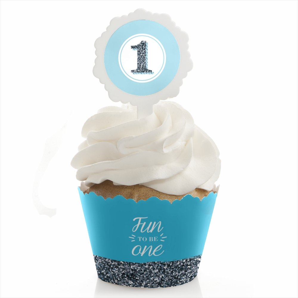 Big Dot of Happiness 1st Birthday Boy - Fun to be One - Birthday Party Cupcake Wrapper and Pick - Cupcake Decorating Kit - Set of 24