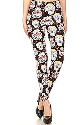 iZZYZX Women's Popular Skulls Characters Printed Leggings Regular Plus (Women 2~20) - Animal Birds Holidays Christmas