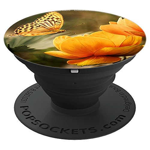 - Yellow Rose Butterfly Flowers - PopSockets Grip and Stand for Phones and Tablets
