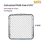 MTB Galvanized Chain Link Walking Fence Gate 4'x3'6''