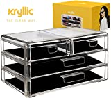 Acrylic Cosmetic Storage Drawer Organizer - Clear case vanity or bathroom countertop make up organizer with 4 box drawers hold creams lotions nailpolish lipstick makeup brush! Organizers for make up!