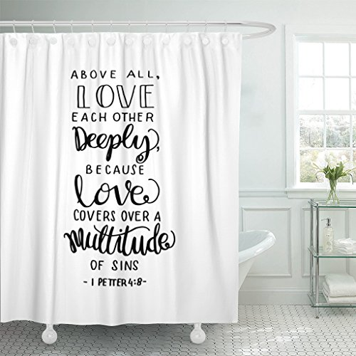 TOMPOP Shower Curtain Drawn Above All Love Each Other Deeply Hand Lettered Quote Bible Verse Modern Calligraphy Scripture Waterproof Polyester Fabric 72 x 72 inches Set with Hooks by TOMPOP