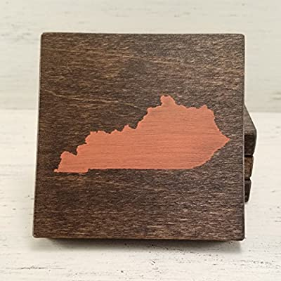 Pick Your State and Color, Kentucky Wood Coasters, Set of 4, Wedding, Housewarming