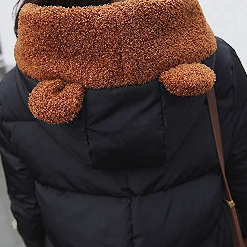 Piumino Dimensione Invernale Cappotto Zhrui Nero Felpa Lunghe Nero L Esterno Cappuccio Con In colore Donna Da A Soffio Maniche Spesso Donna Giacca Calda Taglio Corto drqBIq