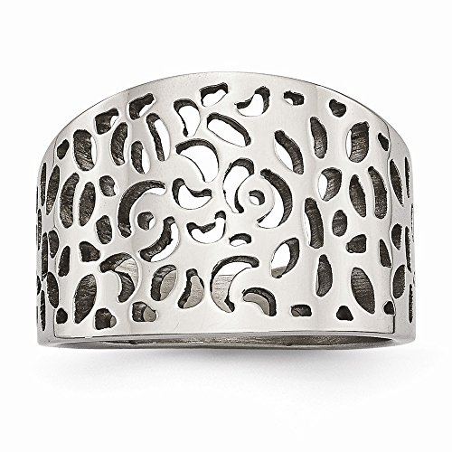 (Stainless Steel Fashion Ring Polished Cut-out design Ring)