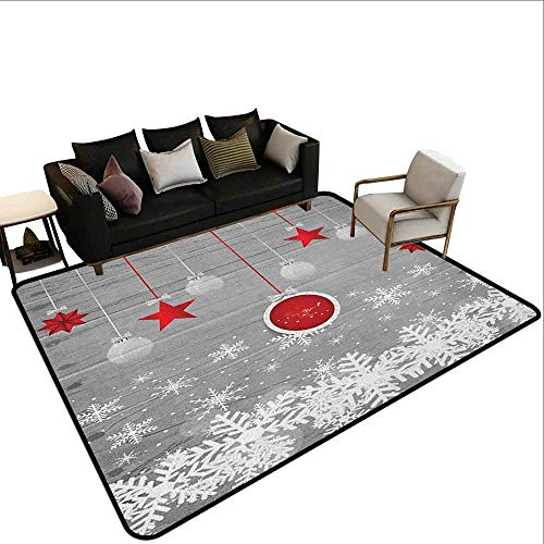 Square Carpet Christmas,Traditional Celebration Theme with Pendant Stars Baubles Ornate Snowflakes, Grey Red White