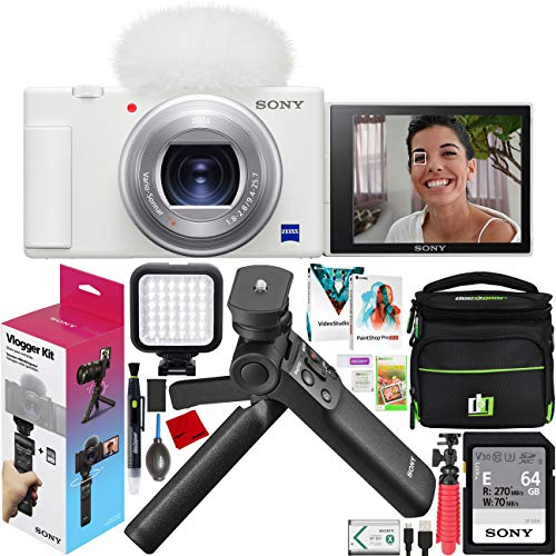 Sony ZV-1 Compact Digital 4K Camera Vlogger Creator's Kit ACCVC1 Includes GP-VPT2BT Shooting Grip with Wireless Remote Commander + 64GB Card DCZV1/W Bundle Deco Gear Case + LED Light and Accessories